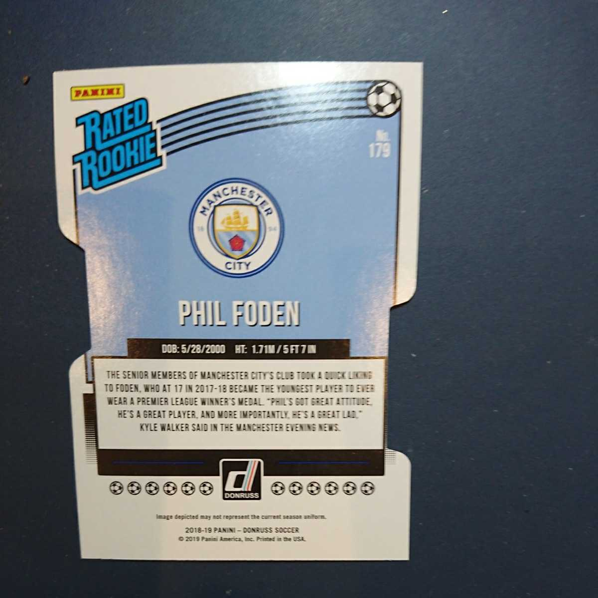 PHIL FODEN 2018-19 PANINI DONRUSS RATED ROOKIE SILVER ダイカット 014/100_画像2