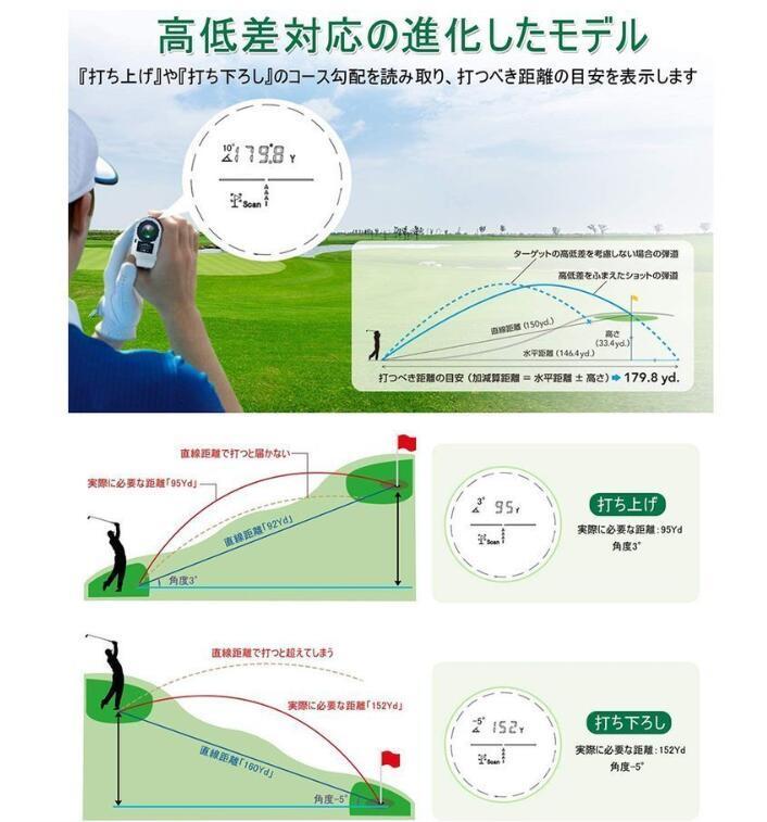 ゴルフ 距離計 距離計測器 距離計測器レーザ 660yd対応 光学6倍望遠 IPX5防水 高低差機能 ゴルフ 4測定機能_画像8
