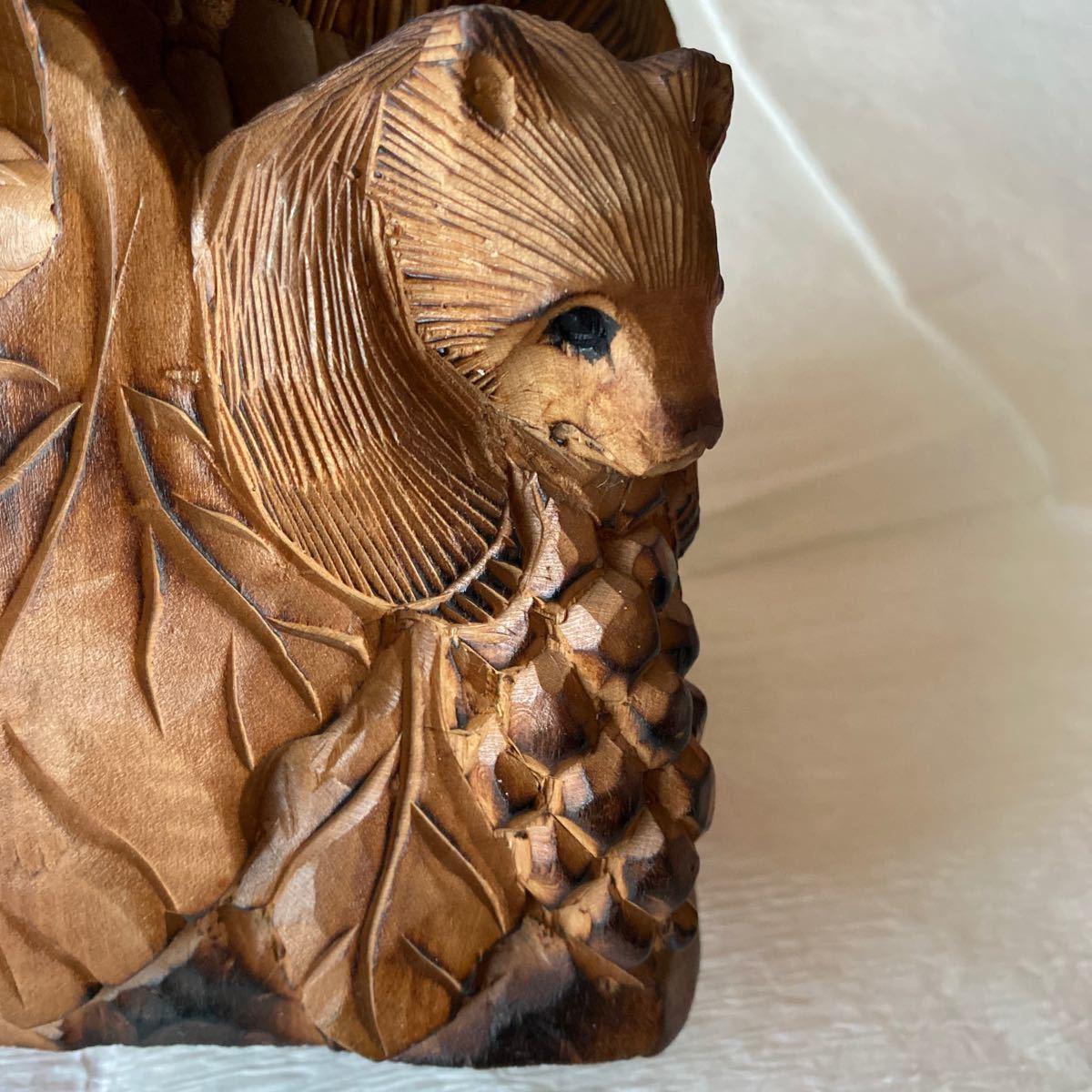 北海道アイヌ☆親子熊の木彫り置物_画像4