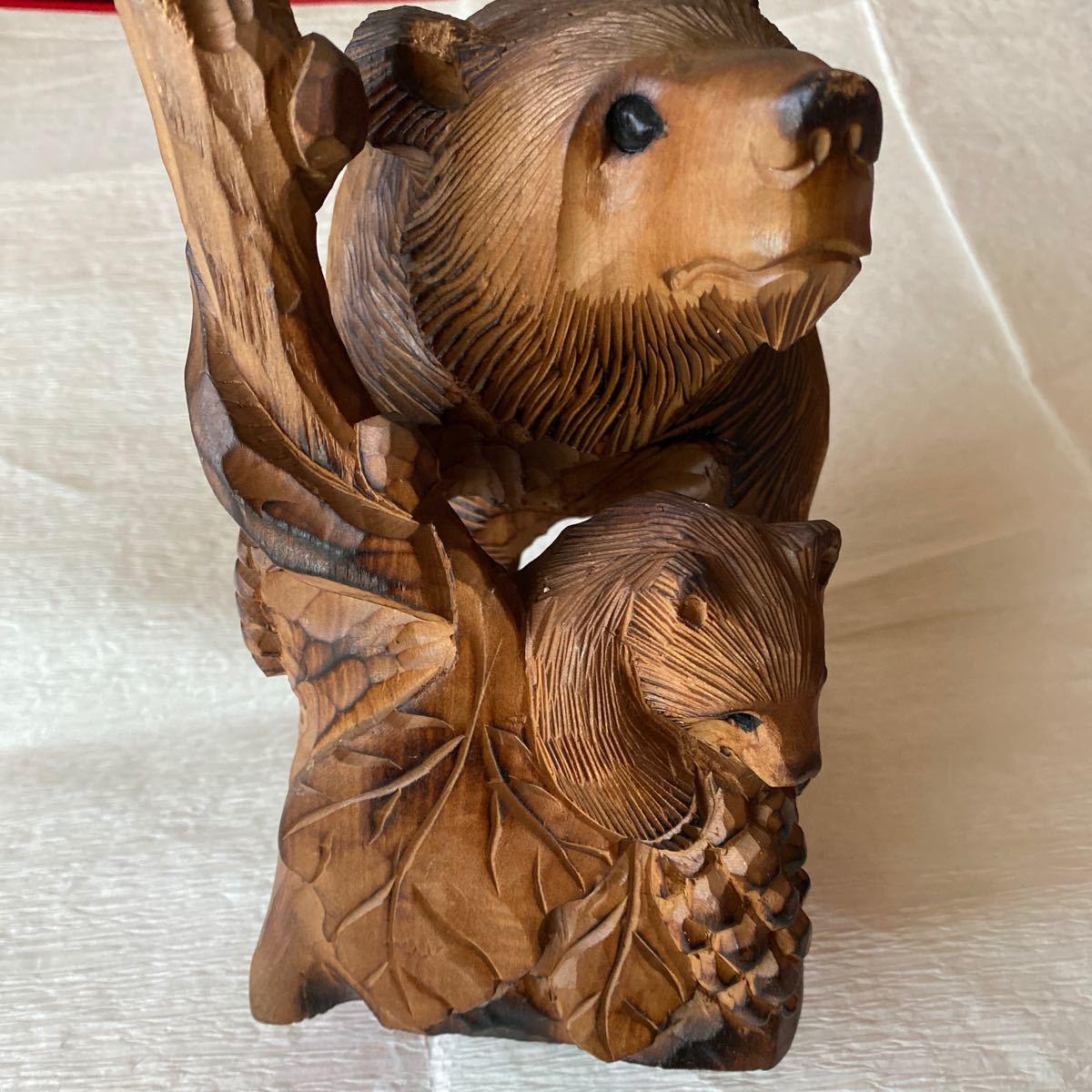 北海道アイヌ☆親子熊の木彫り置物_画像3