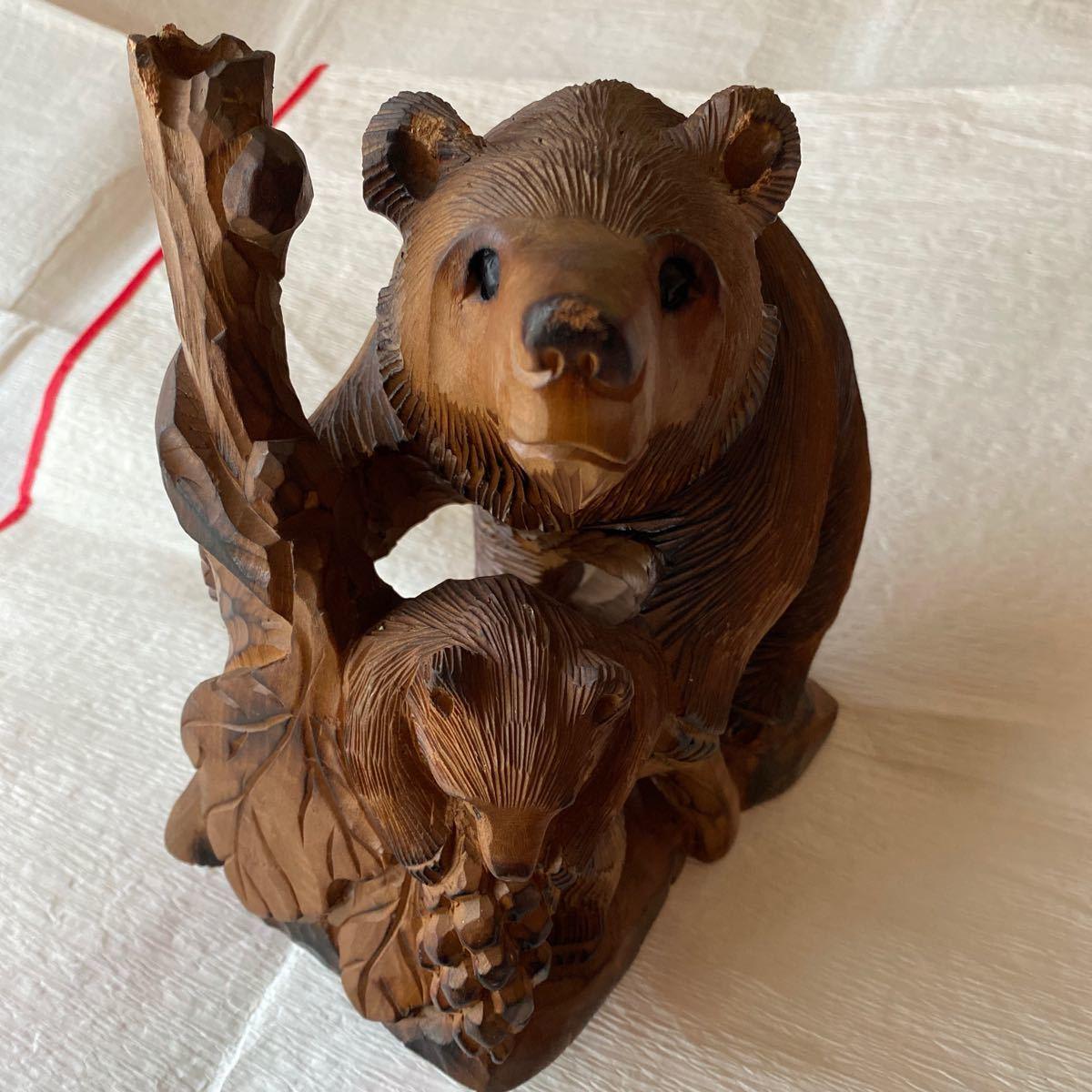 北海道アイヌ☆親子熊の木彫り置物_画像1