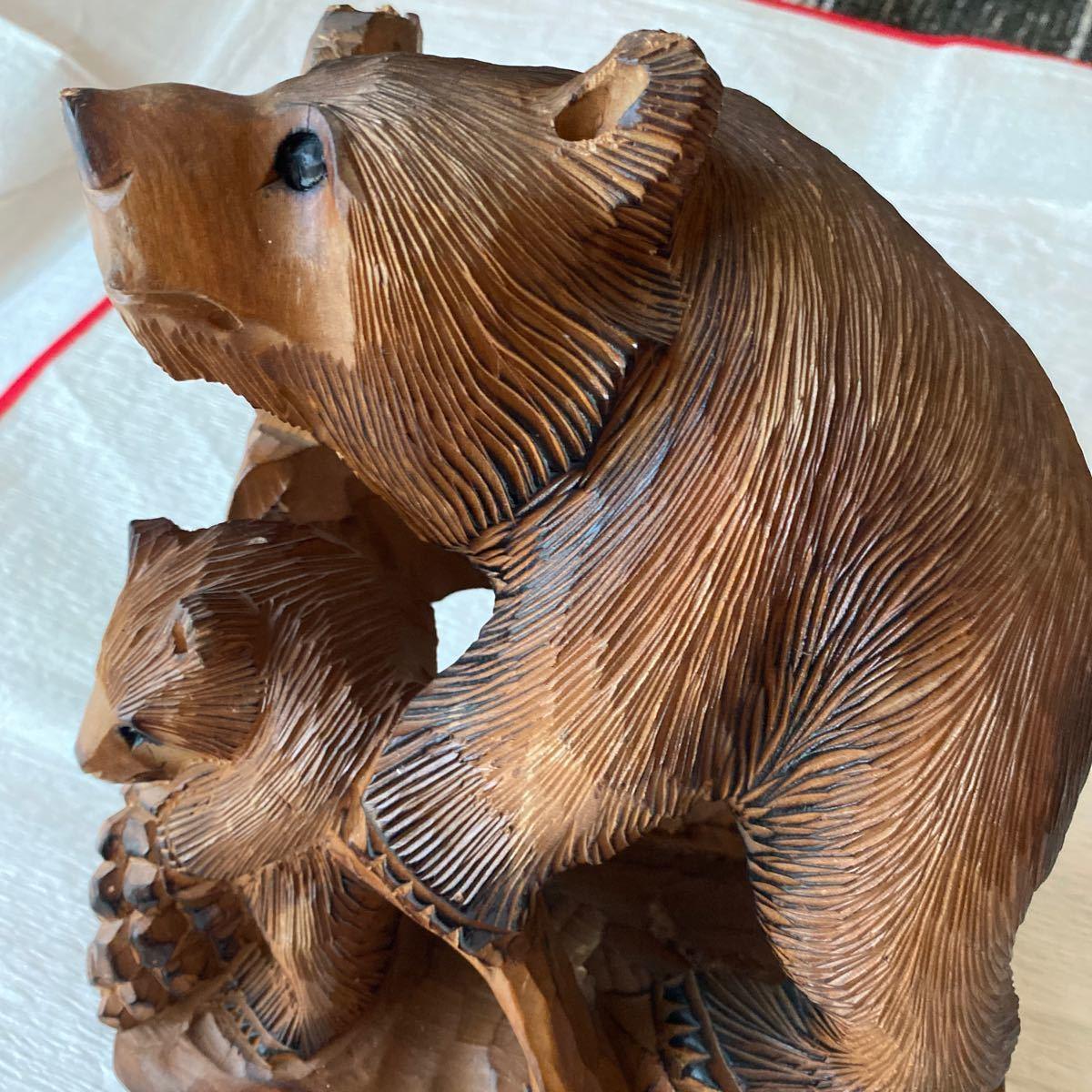 北海道アイヌ☆親子熊の木彫り置物_画像6