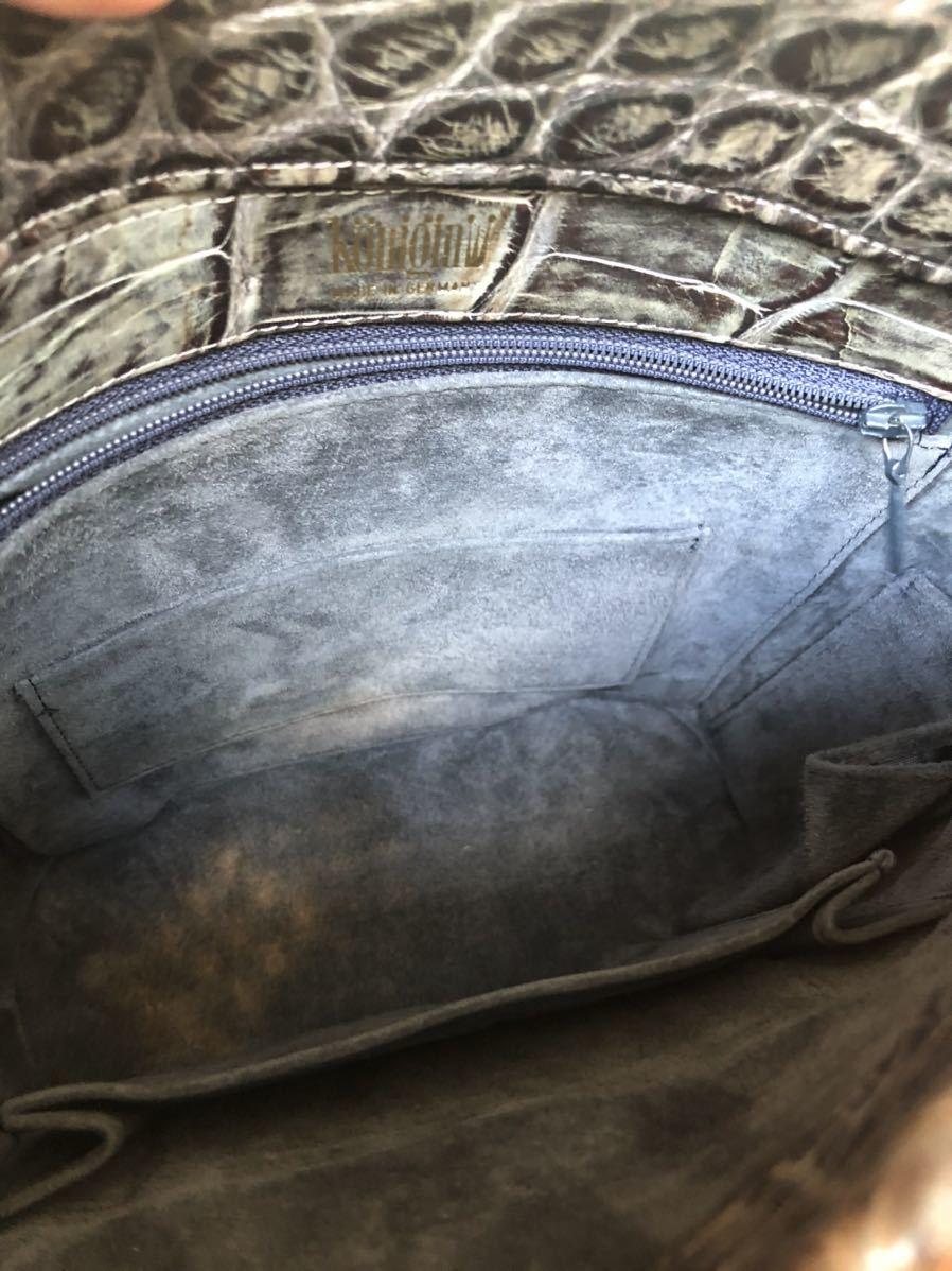 除菌して発送!綺麗目 クーニギン マット クロコダイル ワンショルダーバッグ ハンドバッグ ショルダーバッグ リアルクロコ