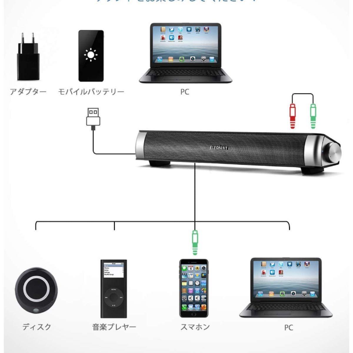 PCスピーカー USB パソコン サウンドバー ステレオ有線給電
