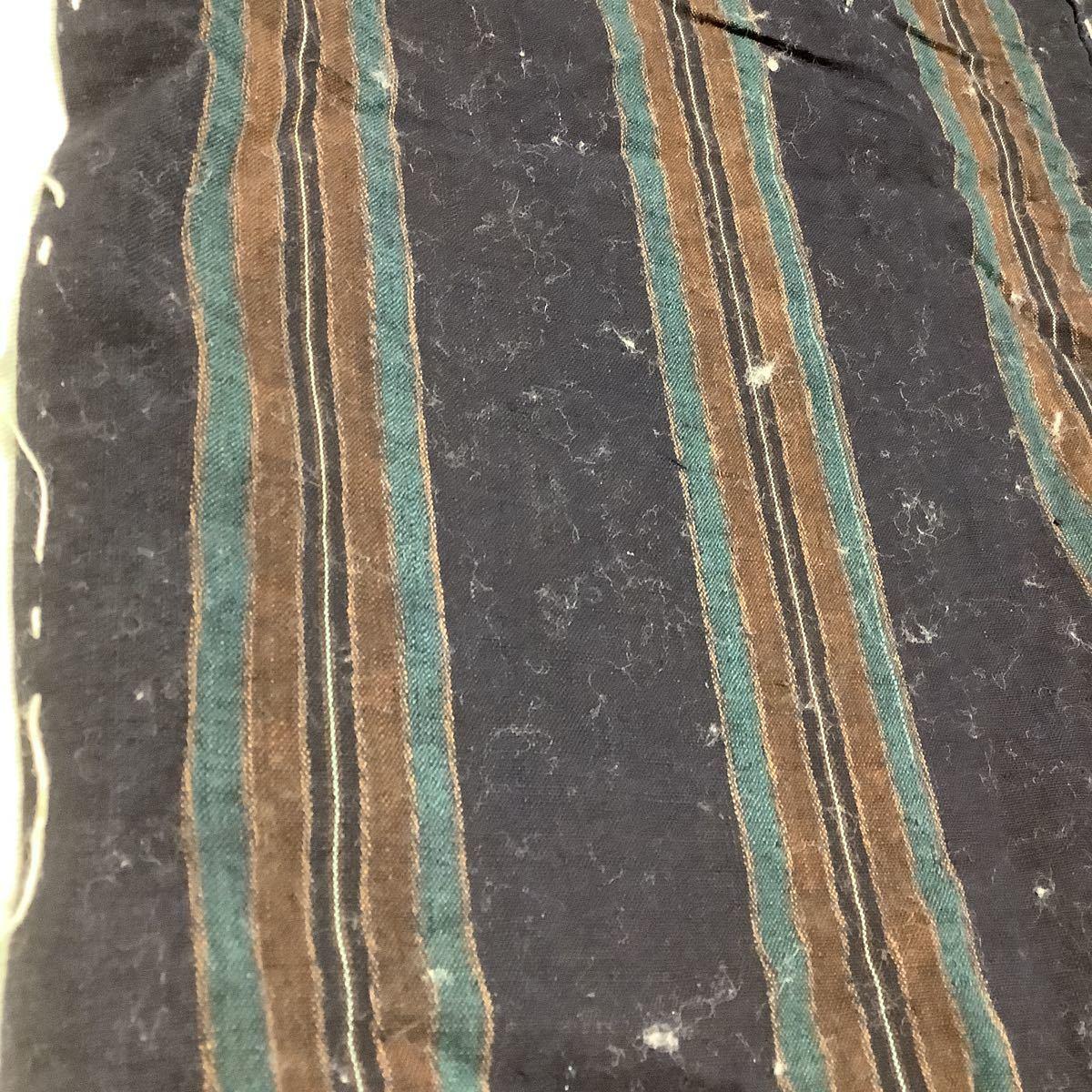 ◆古布前掛け専門屋◆滋賀県より◆手織り木綿◆縞絣◆本藍染◆草木染◆ベンガラ染◆3幅三巾◆184cm◆刺子絣縞型染布団側裂織筒描き襤褸野良_画像2