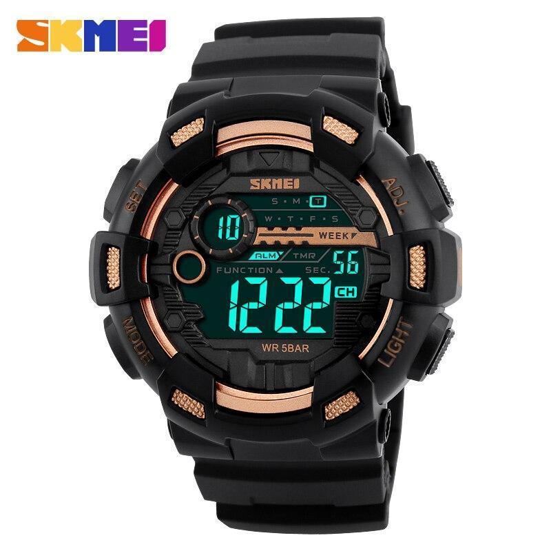 Skmei屋外スポーツ腕時計メンズ多機能 5Bar防水puストラップledディスプレイ腕時計クロノデジタル腕時計リロイhombre_画像4