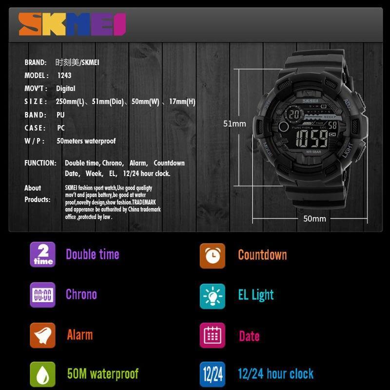 Skmei屋外スポーツ腕時計メンズ多機能 5Bar防水puストラップledディスプレイ腕時計クロノデジタル腕時計リロイhombre_画像3