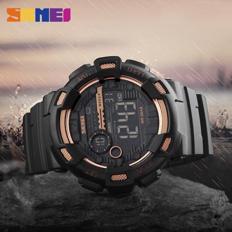 Skmei屋外スポーツ腕時計メンズ多機能 5Bar防水puストラップledディスプレイ腕時計クロノデジタル腕時計リロイhombre_画像5