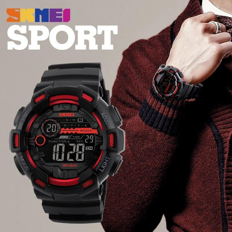 Skmei屋外スポーツ腕時計メンズ多機能 5Bar防水puストラップledディスプレイ腕時計クロノデジタル腕時計リロイhombre_画像6