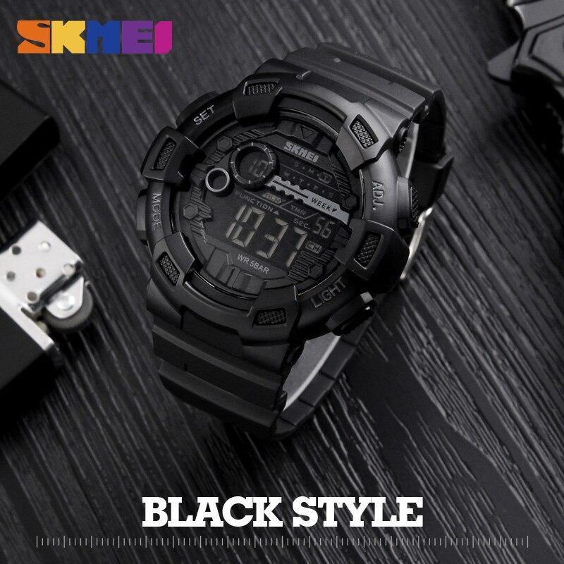 Skmei屋外スポーツ腕時計メンズ多機能 5Bar防水puストラップledディスプレイ腕時計クロノデジタル腕時計リロイhombre_画像2