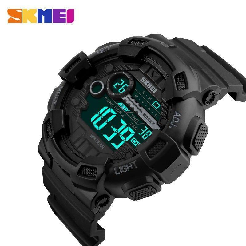 Skmei屋外スポーツ腕時計メンズ多機能 5Bar防水puストラップledディスプレイ腕時計クロノデジタル腕時計リロイhombre_画像1