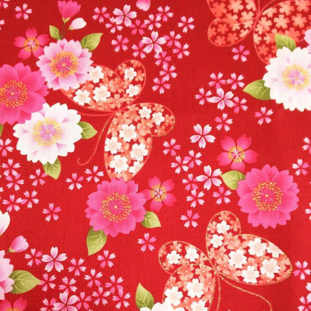 花と蝶の和柄生地・綿100%/スケア生地 レッド
