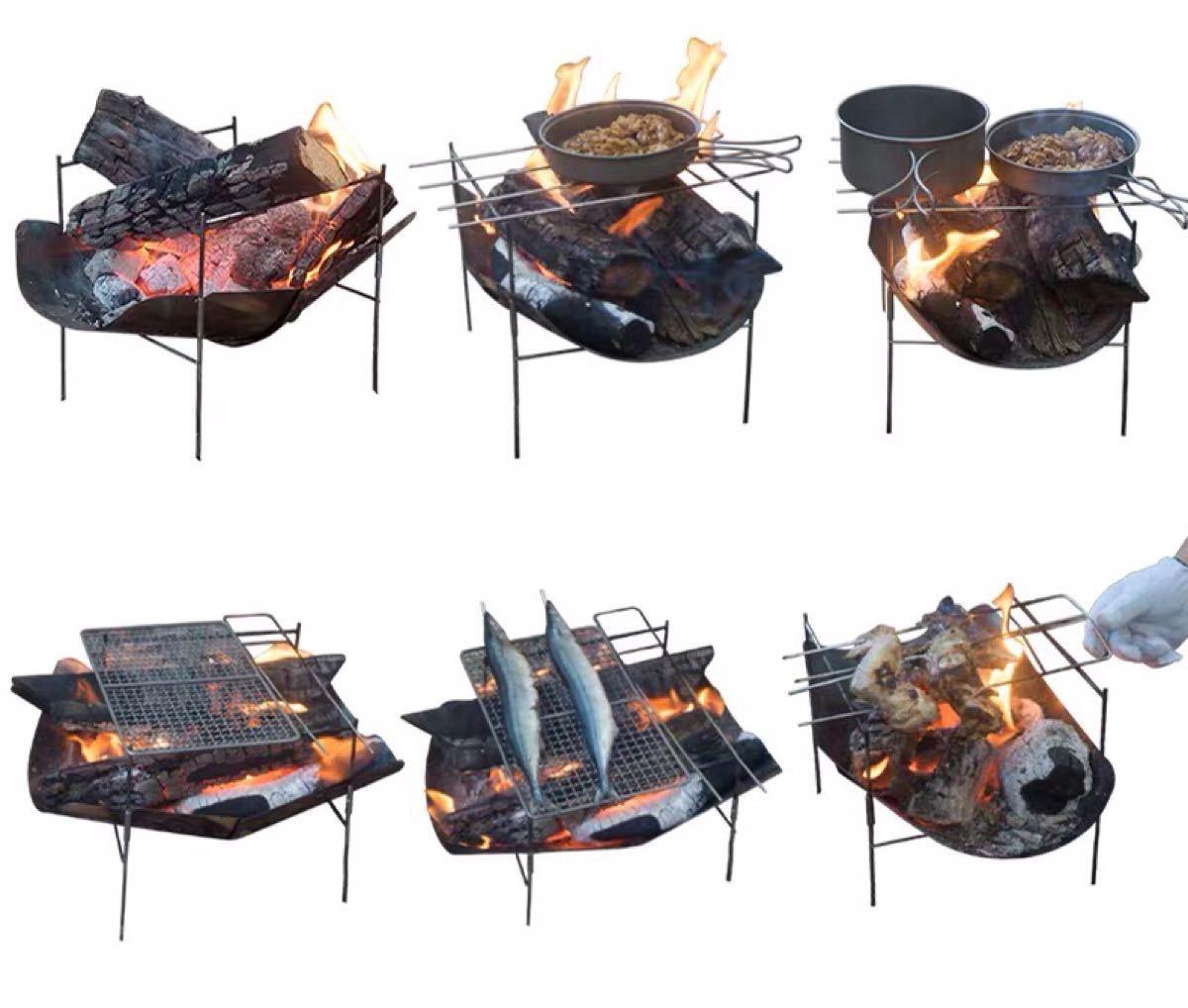 焚き火台 頑丈 キャンプ用品 スピット3本付属 バーベキューコンロ