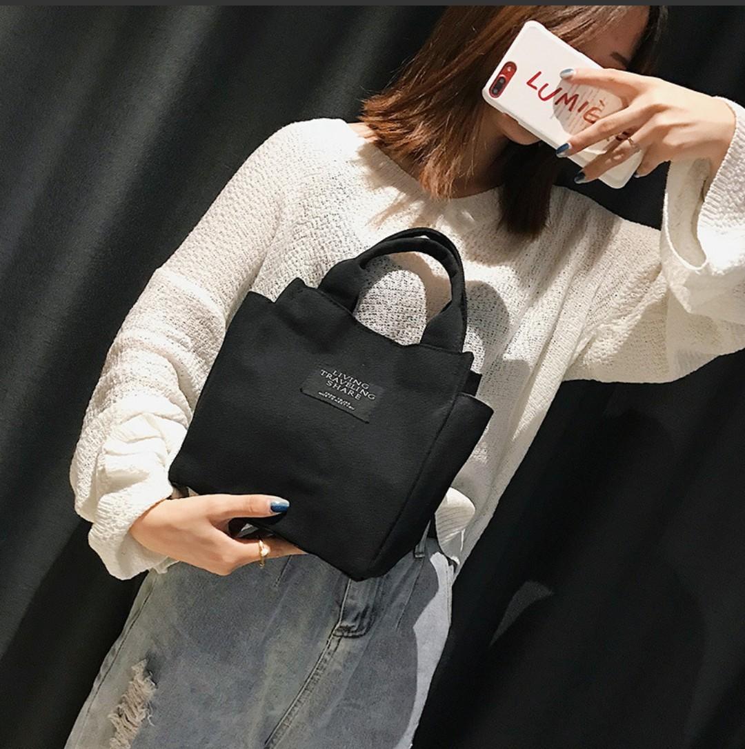 ★ミニトートバッグ★ コンビニ ランチバッグ 帆布 防水 キャンバス ブラック