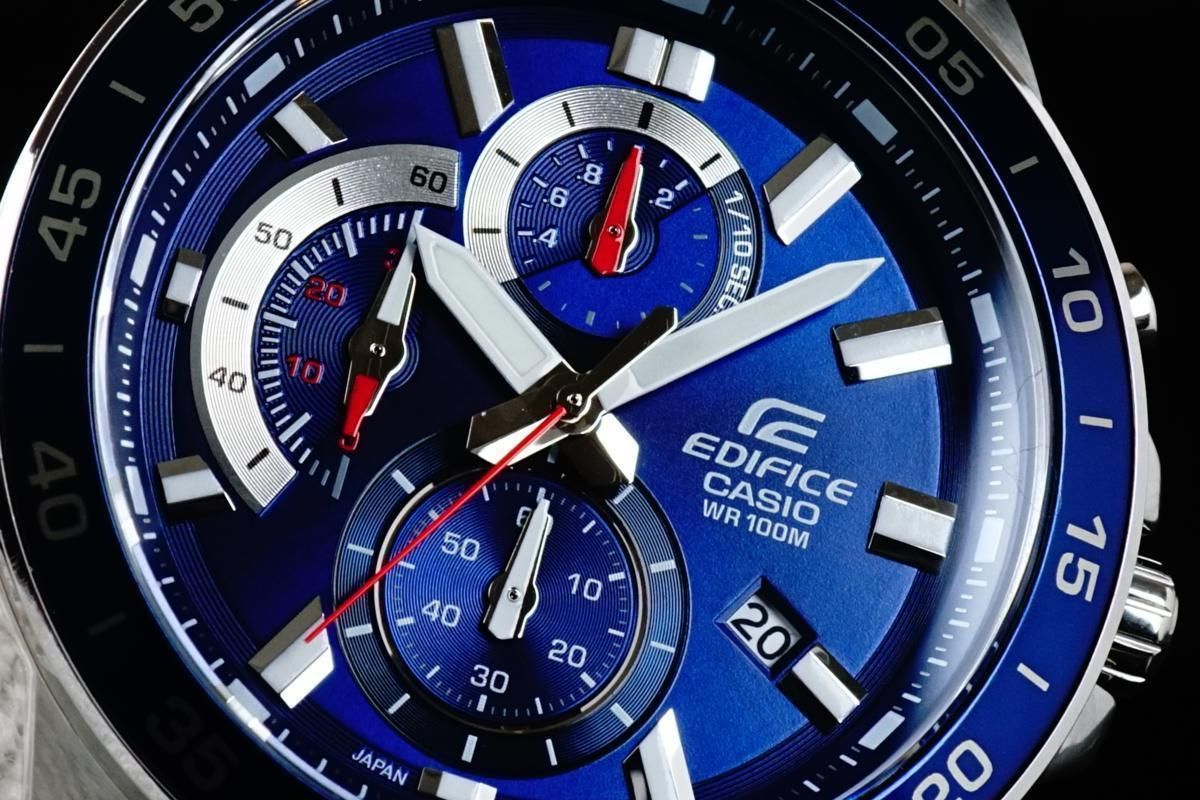 1円×3本 カシオ逆輸入EDIFICEエディフィス欧米モデル 鮮烈ネイビーブルー 100m防水 クロノグラフ 腕時計 新品 未使用 CASIO メンズ 1スタ