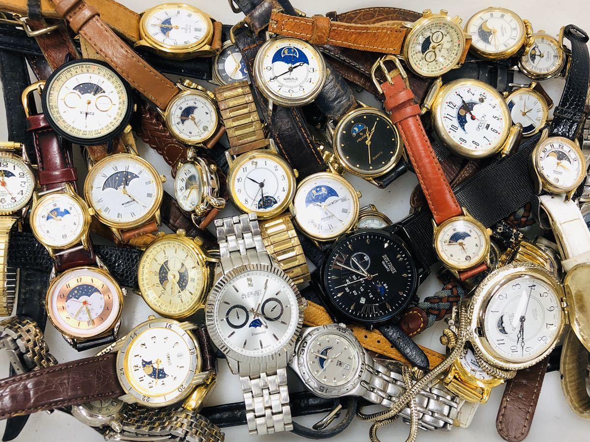 ムーンフェイズ 腕時計 50本以上 WALTHAM TIMEX 懐中時計 手巻き 機械式 PEUGEOT 等 大量 まとめて セット 414_画像1