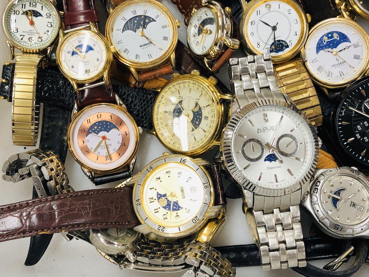 ムーンフェイズ 腕時計 50本以上 WALTHAM TIMEX 懐中時計 手巻き 機械式 PEUGEOT 等 大量 まとめて セット 414_画像4