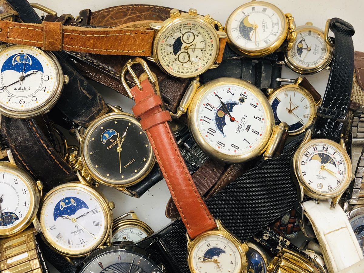 ムーンフェイズ 腕時計 50本以上 WALTHAM TIMEX 懐中時計 手巻き 機械式 PEUGEOT 等 大量 まとめて セット 414_画像5