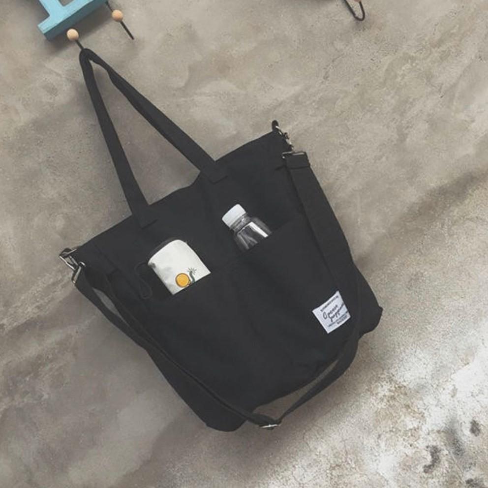 3way 帆布 トートバッグ ショルダーバッグ キャンバス 大容量 ブラック