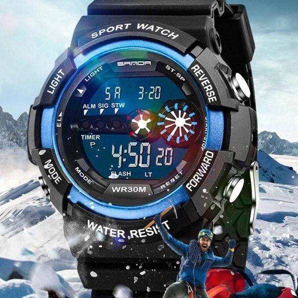 メンズ ステンレス LED デジタル 日付 アラーム 防水 スポーツ アーミー クォーツ 時計 電子 時計 ファッション 腕時計 アウトドア H529_画像1