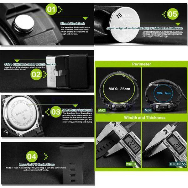 メンズ ステンレス LED デジタル 日付 アラーム 防水 スポーツ アーミー クォーツ 時計 電子 時計 ファッション 腕時計 アウトドア H529_画像3