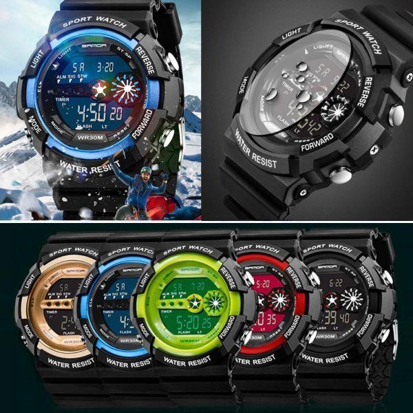 メンズ ステンレス LED デジタル 日付 アラーム 防水 スポーツ アーミー クォーツ 時計 電子 時計 ファッション 腕時計 アウトドア H529_画像2