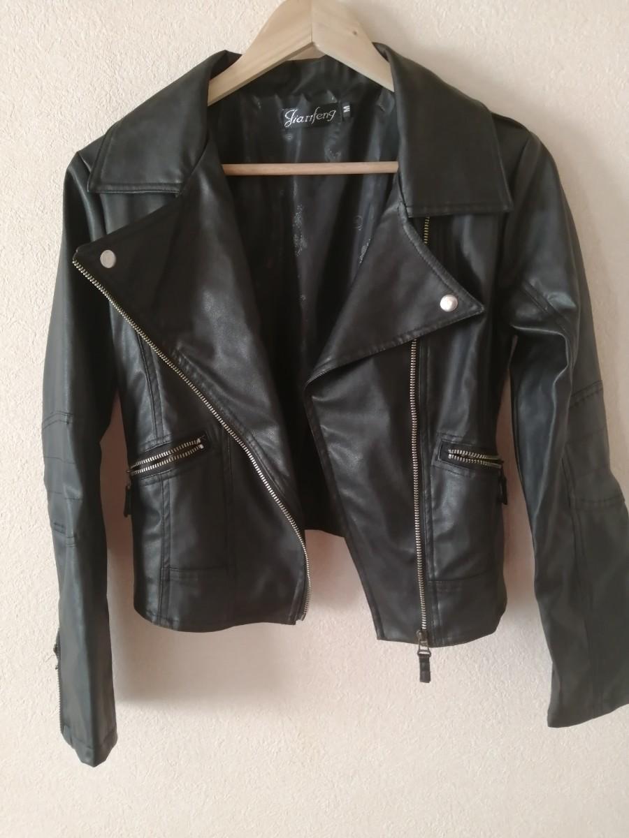 ライダースジャケットアウター レザージャケット フェイクレザー  黒 スプリング