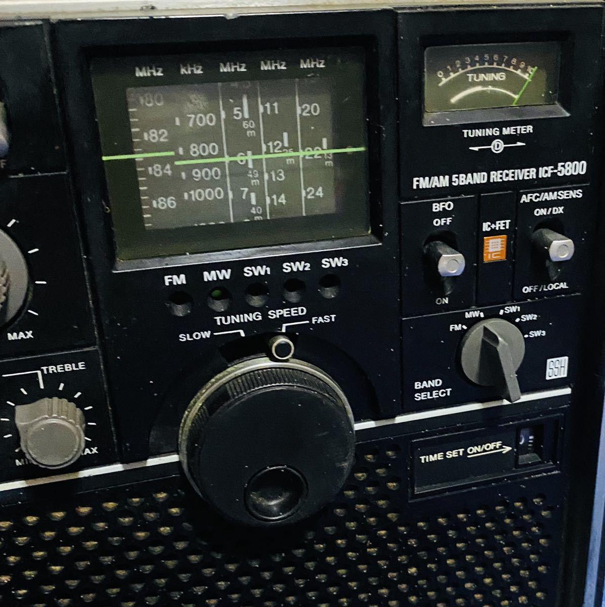 SONY ICF-5800 ラジオ ブラック Skysensor FM/AM 5BAND RECEIVER ソニー スカイセンサー ライトOK_画像3