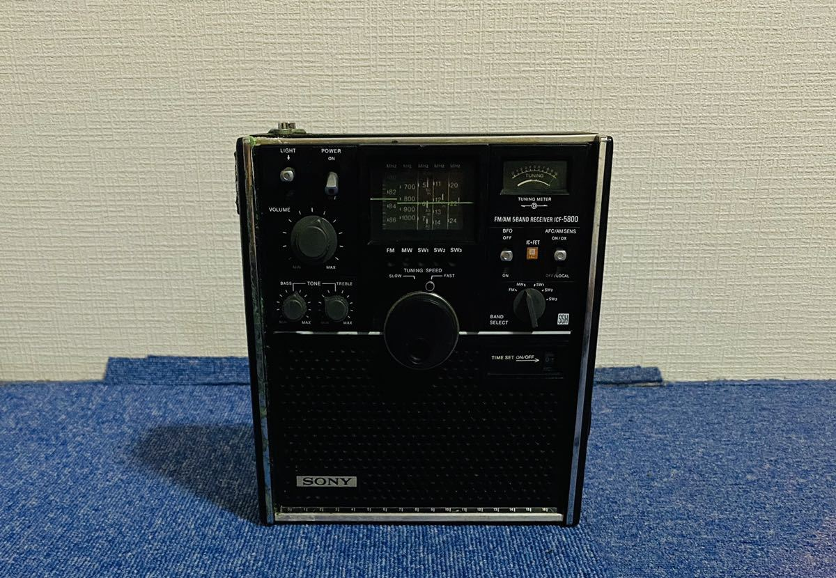 SONY ICF-5800 ラジオ ブラック Skysensor FM/AM 5BAND RECEIVER ソニー スカイセンサー ライトOK_画像4