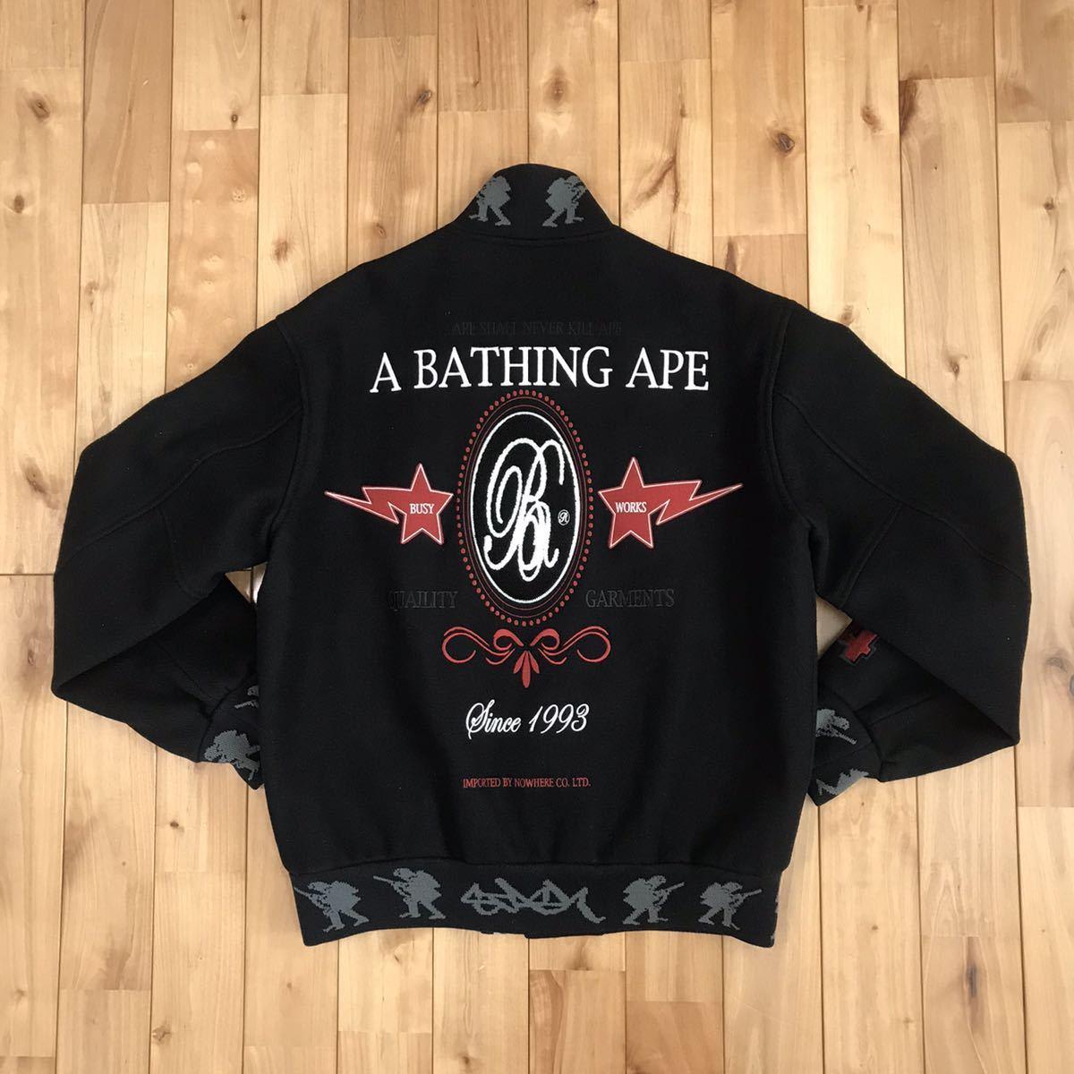 ★激レア★ stash × bape メルトン スタジャン Mサイズ a bathing ape エイプ ベイプ アベイシングエイプ varsity jacket スタッシュ nigo