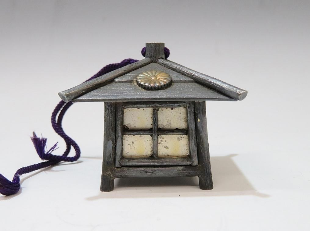 天皇家御下賜品 吊灯籠型ボンボニエール 純銀山崎商店製(1101
