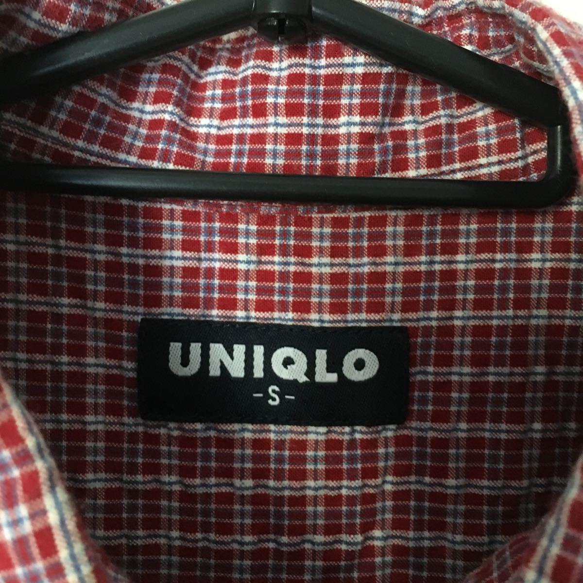 長袖シャツ チェック柄 ボタンダウンシャツ ユニクロ S