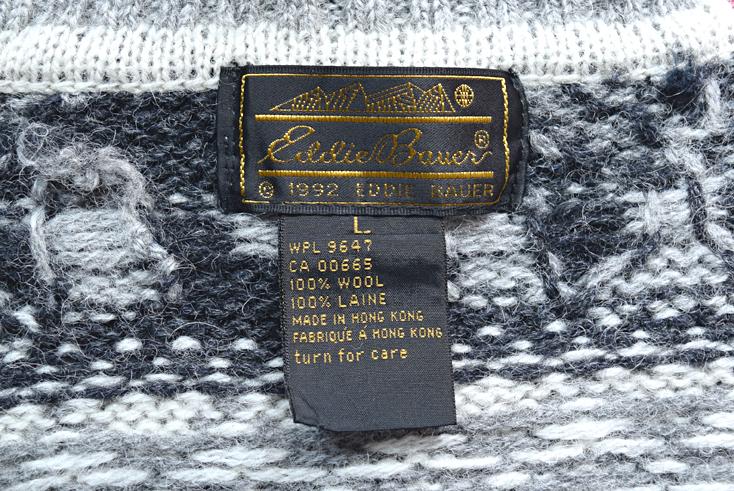 【送料無料】90s エディーバウアー ハイネック セーター タートルネック ヘラジカ柄 ウールニット メンズL Eddie Bauer CH0314