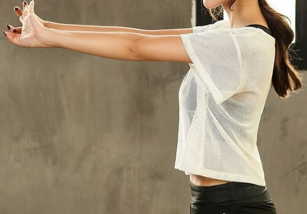 スポーツウェア シースルーTシャツ 白 M レディーストップス メッシュ 速乾性 ヨガ フィットネス エクササイズ ランニング ダンス ホワイト