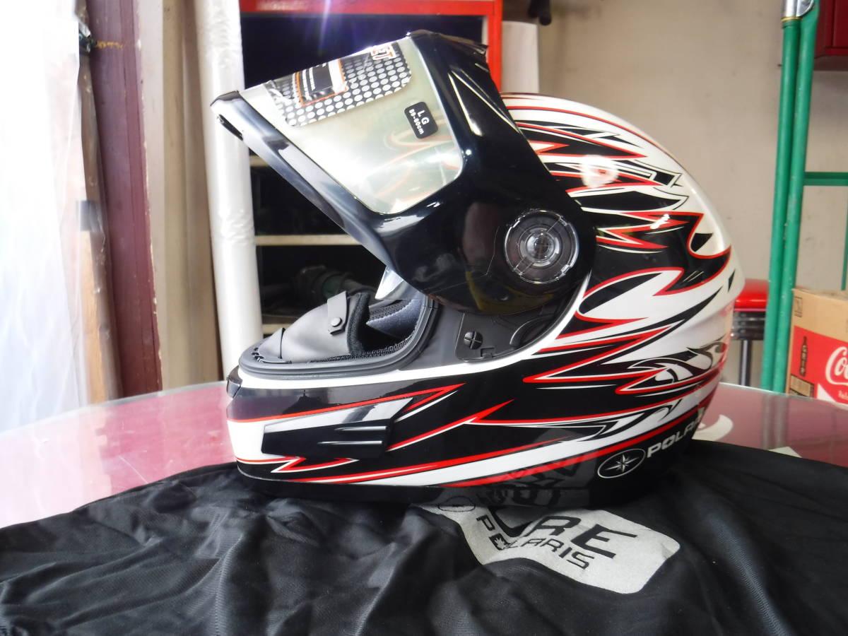 即納 ポラリス 純正 スノーモービル用 ヘルメット XL:61-62cm AF1.5 ブラックxホワイトxデュアルシールド ゴーグルいらず polaris_画像1