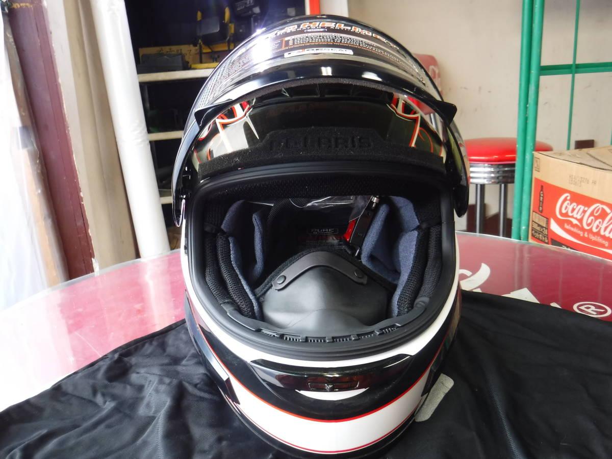 即納 ポラリス 純正 スノーモービル用 ヘルメット XL:61-62cm AF1.5 ブラックxホワイトxデュアルシールド ゴーグルいらず polaris_画像2