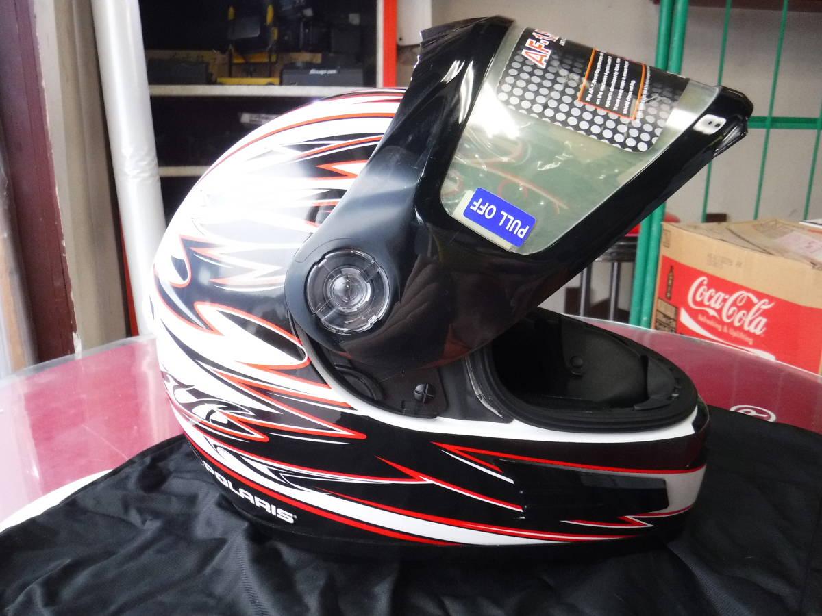 即納 ポラリス 純正 スノーモービル用 ヘルメット XL:61-62cm AF1.5 ブラックxホワイトxデュアルシールド ゴーグルいらず polaris_画像6