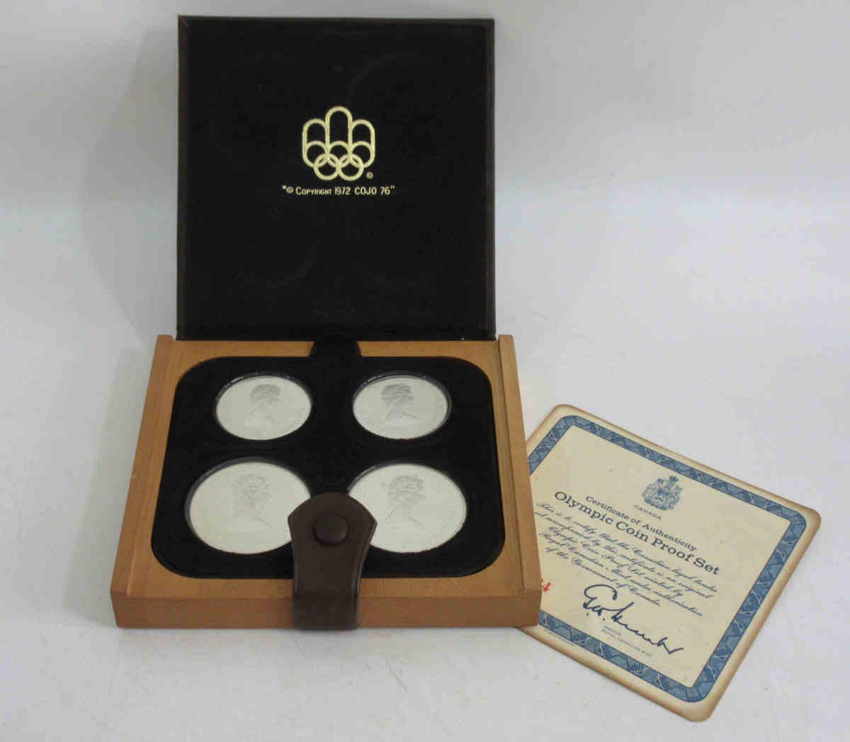 ★1976年 カナダ モントリオールオリンピック記念コインセット プルーフ銀貨 シルバー925/5ドル×2枚 10ドル×2枚/4.32トロイオンス j92