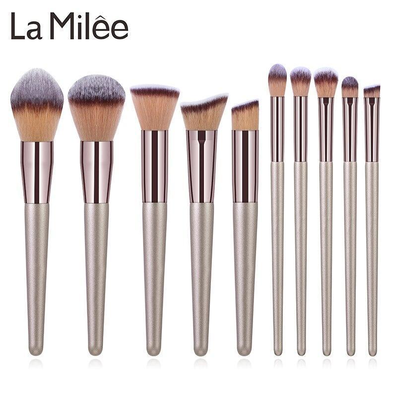 ラ Milee シャンパンメイクブラシセットファンデーションパウダーブラッシュアイシャドウコンシーラーリップ目を構成するブラシ化粧品美容_画像1