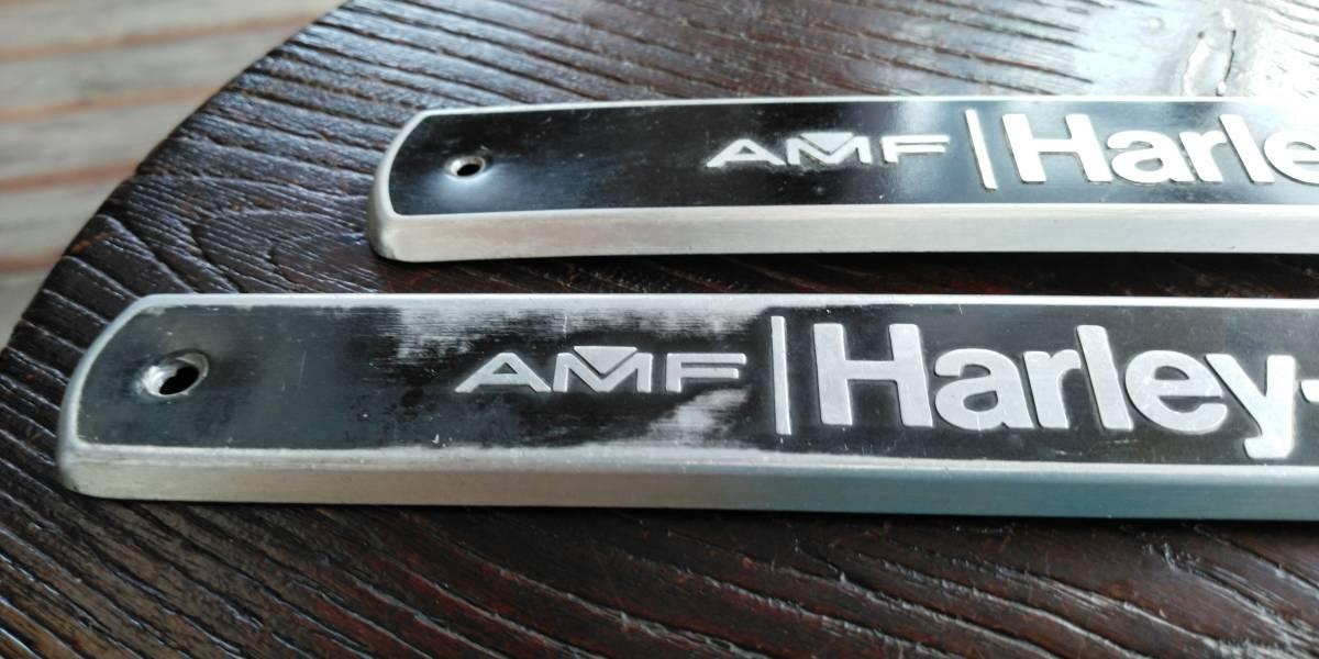 値下げ交渉あり ハーレー ショベルヘッド  FX  FLH ブラック AMF 70s 80s 当時物 純正 タンクエンブレム 左右セット_画像2