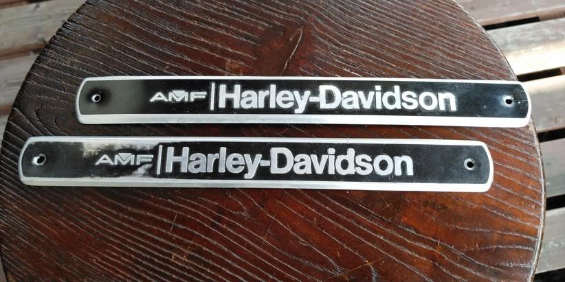 値下げ交渉あり ハーレー ショベルヘッド  FX  FLH ブラック AMF 70s 80s 当時物 純正 タンクエンブレム 左右セット_画像1