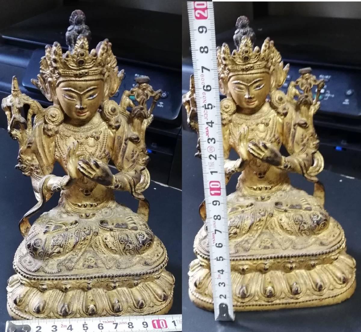 明代 銅製 銅鍍金 無量仏座像 時代保証 仏像 仏教像古美術 箱付 中国古玩骨董_画像8