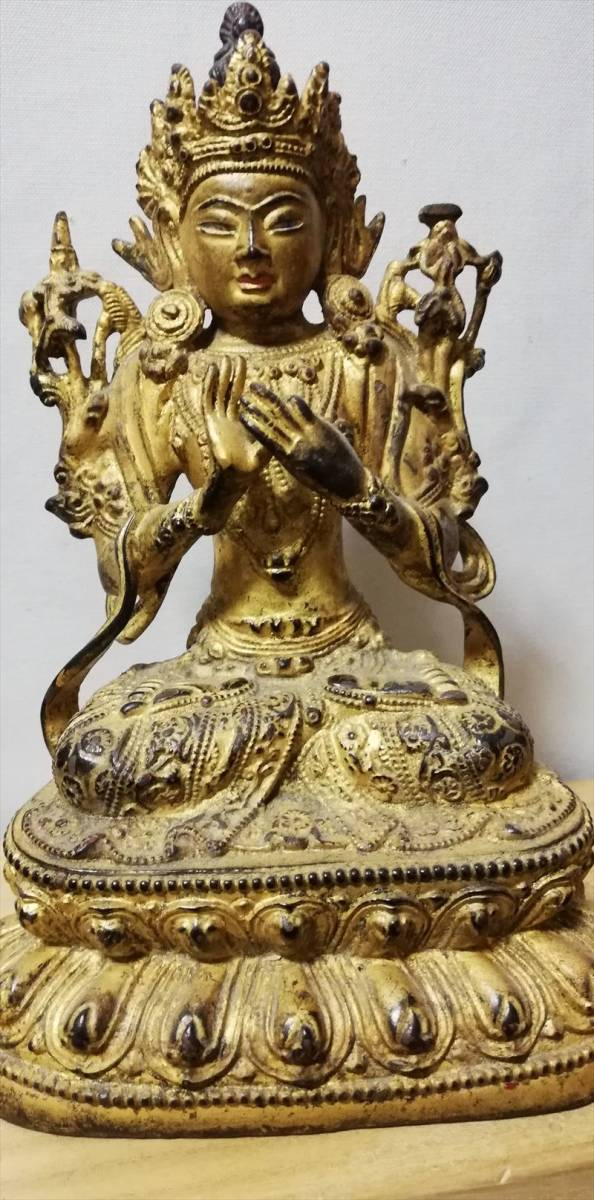明代 銅製 銅鍍金 無量仏座像 時代保証 仏像 仏教像古美術 箱付 中国古玩骨董_画像2