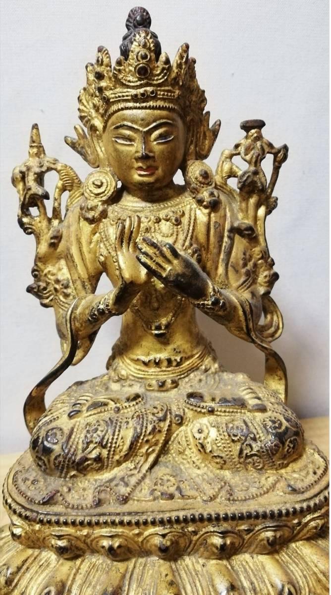 明代 銅製 銅鍍金 無量仏座像 時代保証 仏像 仏教像古美術 箱付 中国古玩骨董_画像1