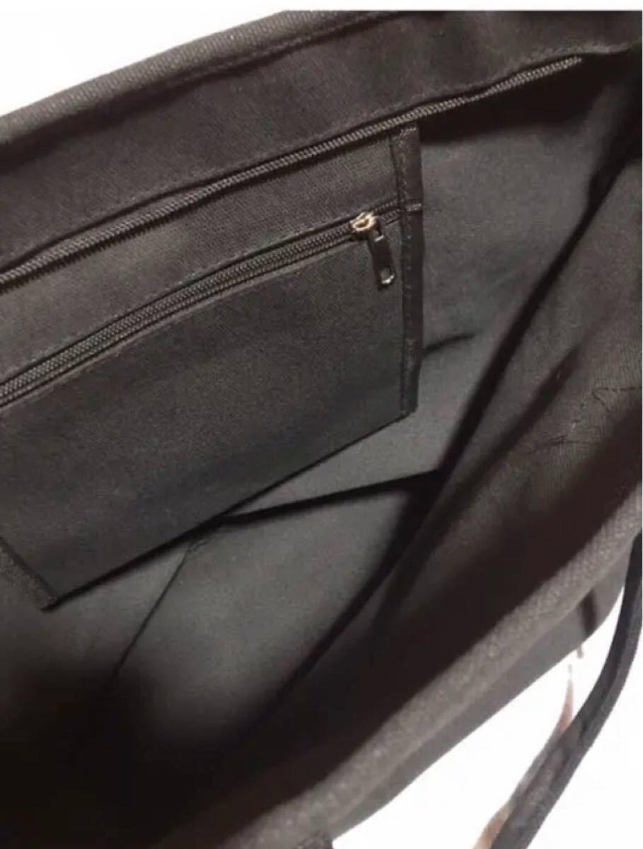 ★キャンバストートバッグ ショルダー【ブラック】レディース メンズ マザーズ