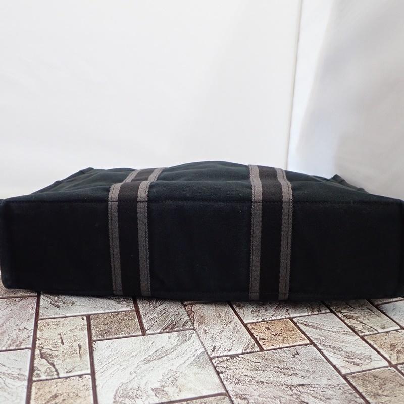 エルメス フールトゥ MM ブラック キャンバス トートバッグ ハンドバッグ 黒 HERMES_画像6