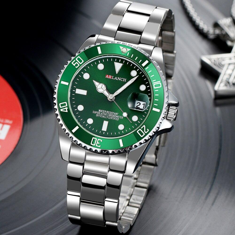 ホットarlanch男性の発光大型ダイヤルメンズ腕時計クォーツ腕時計男性グリーン男性時計スポーツウォッチ男性レロジオmasculino_画像5