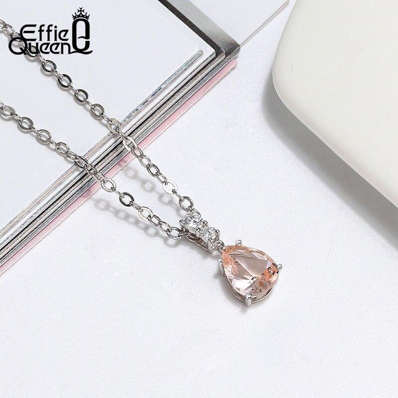 をエフィー女王流行のペンダントネックレス 925 スターリングシルバーのネックレスブルークリスタル石 AAAA ジルコンジュエリーギフト BN1_画像3