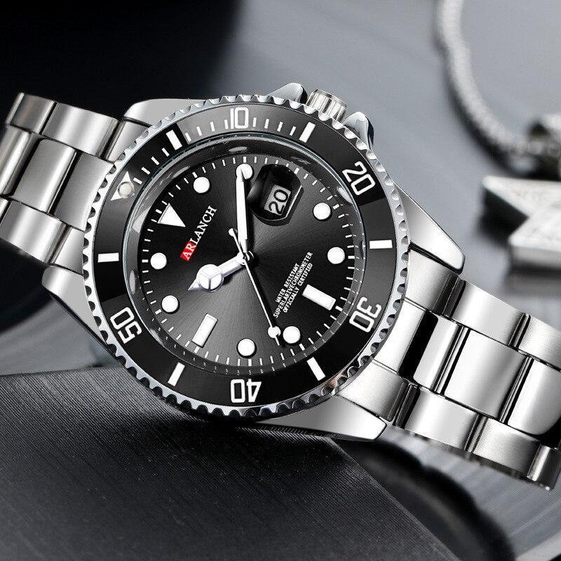 ホットarlanch男性の発光大型ダイヤルメンズ腕時計クォーツ腕時計男性グリーン男性時計スポーツウォッチ男性レロジオmasculino_画像4