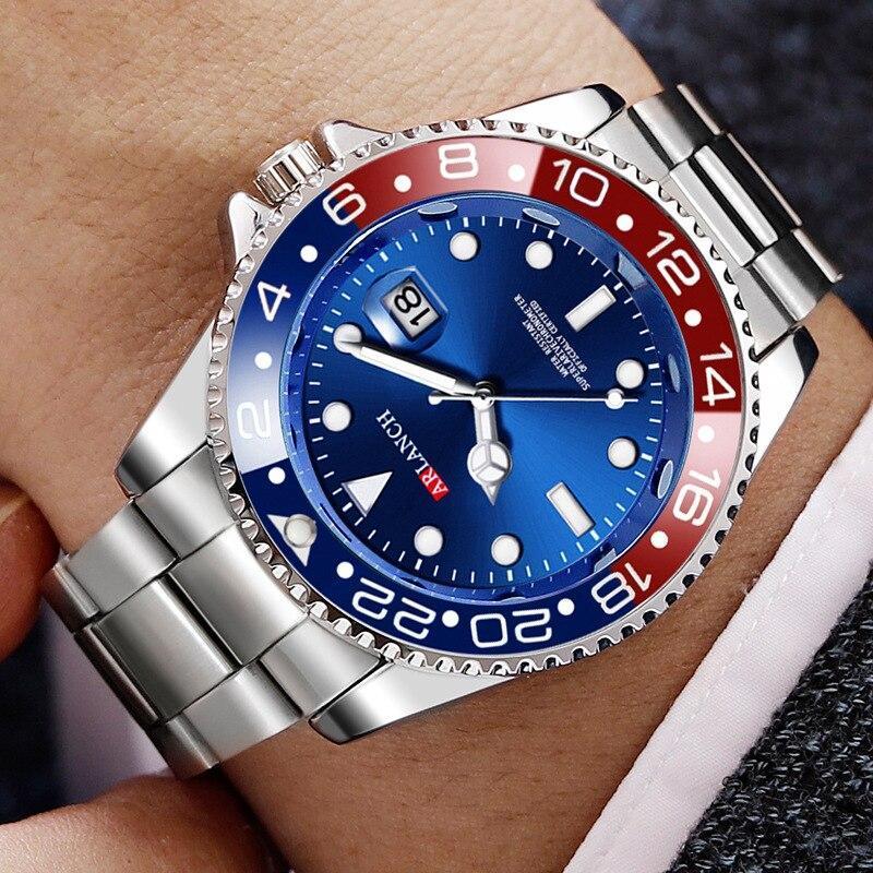 ホットarlanch男性の発光大型ダイヤルメンズ腕時計クォーツ腕時計男性グリーン男性時計スポーツウォッチ男性レロジオmasculino_画像1
